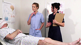 UK sperm nurses tug cock in trio for facial