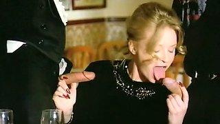Elegant and beautiful blonde Euro babe feeds on cocks