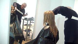 super cute girls gets a good shampoo scrub