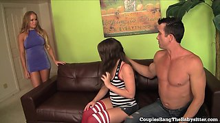 Lonely Teen Babysitter Gets Gangbanged By Swinger Couple!