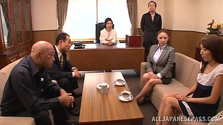 Busty Asian babe is gangbanged by her horny coworkers
