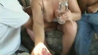 Busty tanned chick gets group fucked in my bang van