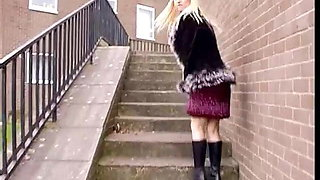 Super Hot Blonde Blonde Desperate  Public Peeing