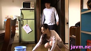 Stunning japanese housewife bows over and gets drilled hard
