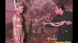 completely helpless blonde dominated and humiliated in a moldy