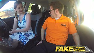 Fake Driving School busty redhead student fucked