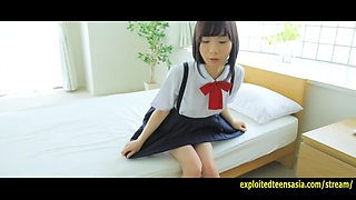 Cute Machida Misana Jav Debut Teen Teases Taking Off Her School Panties And Covering Her Pussy With Hand