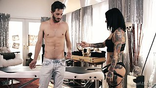 Stunning tattooed hooker Joanna Angel rides a dick reverse and face to face