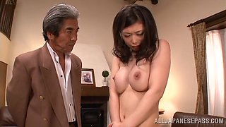 Hikari Hino lets a guy examine her hairy Asian pussy