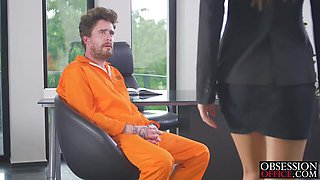 Horny office Tina Kay gets missionary from big dick inmate