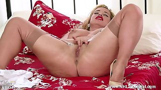 blonde milf olga cabaeva wanks in retro nylon lingerie heels