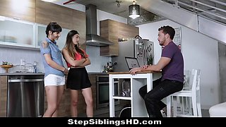 Bro fucks stunning sisters in shocking stepsibling sex triangle