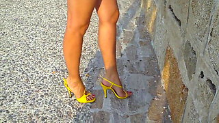 11 Walking around in yellow strappy high heel sandals v2