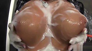 Brunette Gets Showered In Glory Hole Jizz