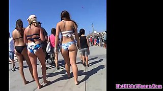 Big ass bikini teens beach closeup spy voyeur cam