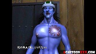 Big tits 3D slut fucked by blue guy
