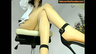 Secretary bitch shows her legs and tits
