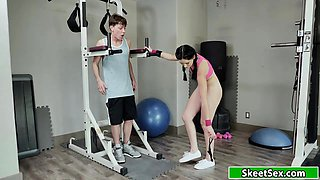 Petite teen doggystyled in the gym