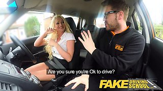 Fake Driving School Instructor has horny car fuck