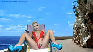 Depraved amazon roleplay baby fucks her pussy on the beach
