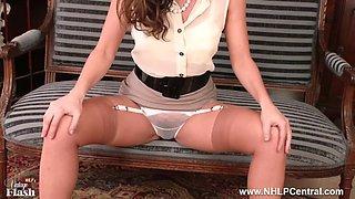 Sassy brunette strips retro lingerie fingers pussy in nylons