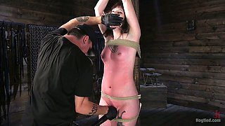 Sizzling chick Paige Pierce gets spanked and punished in the dark room