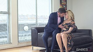 Blonde in a pretty dress gets naked for erotic fucking