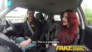 Fake Driving School Crazy hot redhead fucks car gearstick af