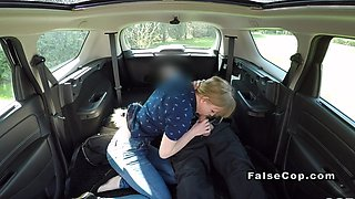 Fake cop bangs blonde in his huge car