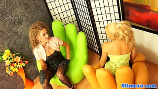 Glamour lesbian straponfucked and cumcovered
