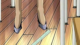Hentai  school teacher in short skirt shows pussy