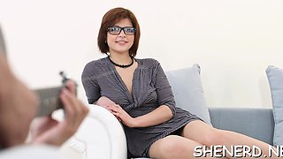 Pretty looking teen in glasses is a actually good lover
