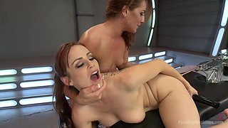 Amazing fisting, squirting porn clip with exotic pornstars Savannah Fox and Bella Rossi from Fuckingmachines