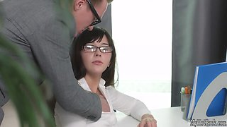 Lana is a horny secretary that hasnt been catching on to her boss