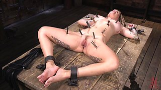 Inked bombshell blonde Sammie Six abused with toys in bondage