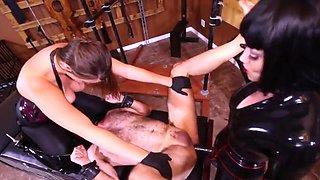 Brutal Mistresses strapon slave